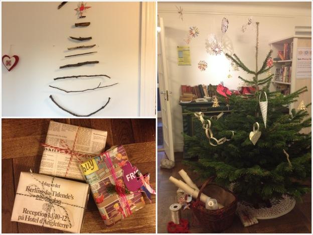 Genbrugsjulestue i Det Grønne Hus: Juletræer og genbrugspakker. Fotograf: Susanne Randers