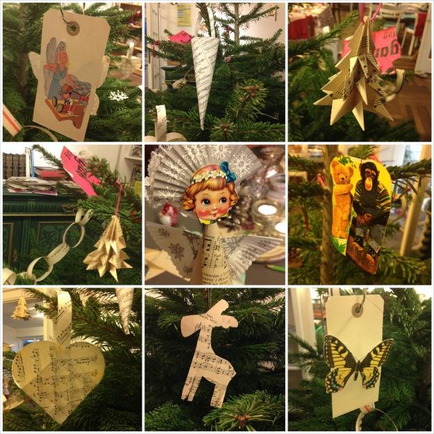 Genbrugsjulestue i Det Grønne Hus: nodepapir, glansbilleder og pynt på juletræet. Fotograf: Susanne Randers
