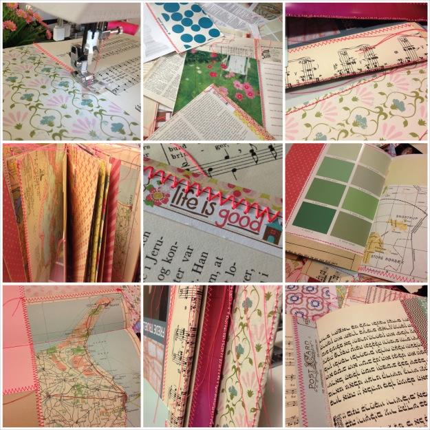 Min første sammensyede Book of Scraps - med neonpink sytråd. Fotograf: Susanne Randers