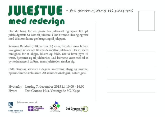 Redesign og genbrugsjulestue i Det Grønne Hus 7. december 2013 10-16