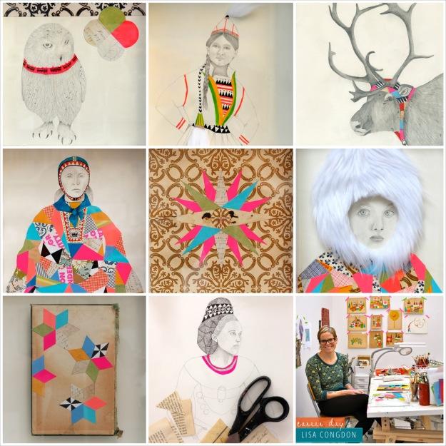 365 moodboards i 2014. Moodboard #10: Collage af Lisa Congdons mixed media billeder - fotos er lånt fra hendes blog og sammensat af mig