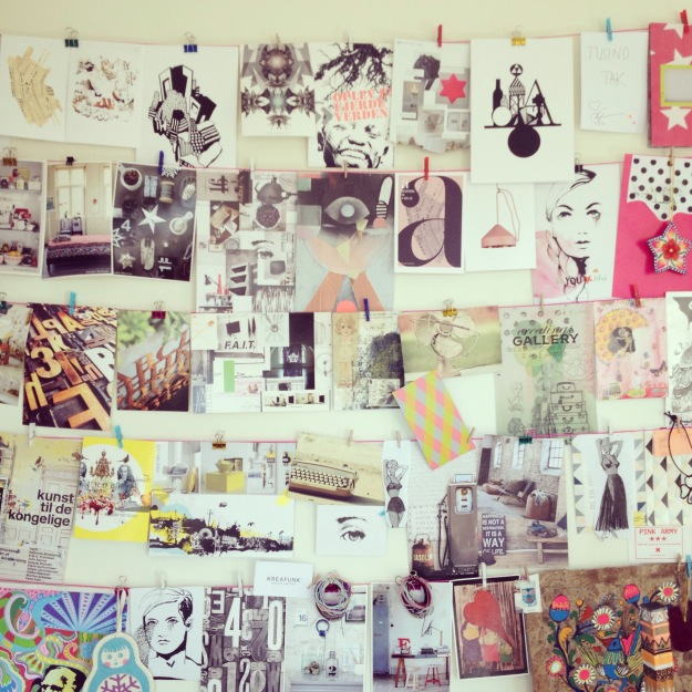 365 mood boards in 2014. Mood board #11: My inspiration wall in my studio. Instagram filter Valencia. Photographer: Susanne Randers