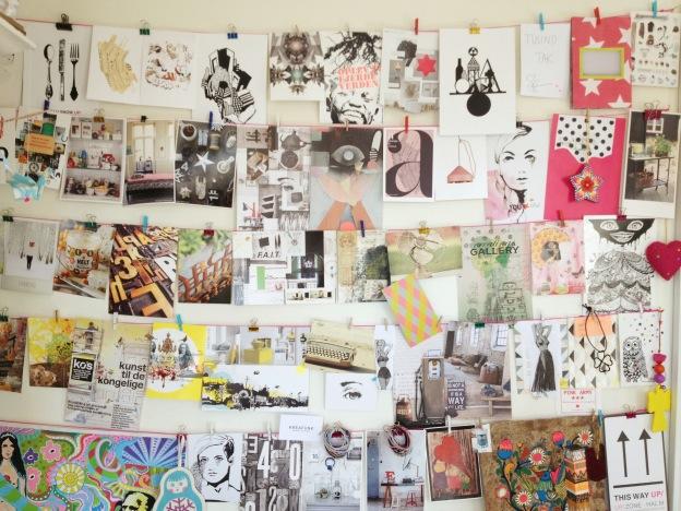 365 moodboards i 2014. Moodboard #11: Min inspirationsvæg i mit krearum. Fotograf: Susanne Randers