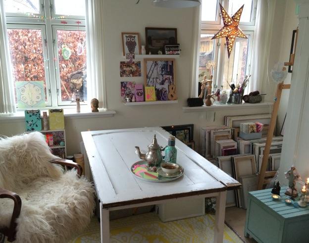 365 moodboards i 2014. Moodboard #14: Kreative energier i mit krearum - og plads til bordet igen. Fotograf: Susanne Randers