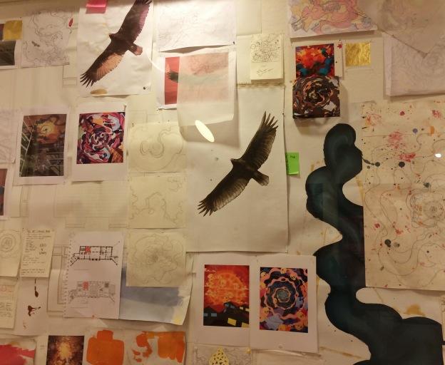 365 moodboards i 2014. Moodboard #25: Skitser til Eske Kaths loftsmaleri i Kronprinsesse Marys mødelokale. Inspirationsvæg udstillet på KØS. Fotograf: Susanne Randers