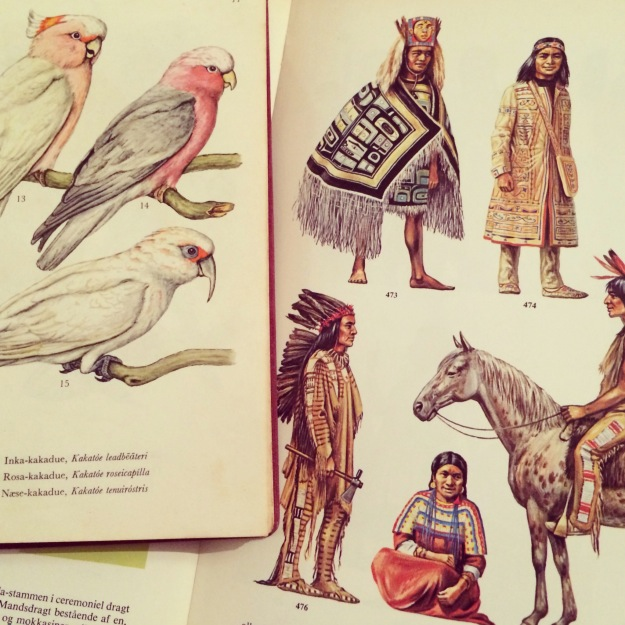 365 mood boards in 2014. Mood board #30: Recycled gold: Old books: Inca Cockatoo studying Indian clothing. Smashup. Instagram filter Valencia. Photographer: Susanne Randers
