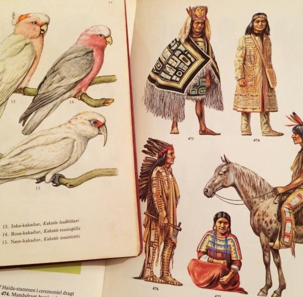 365 moodboards i 2014. Moodboard #30: Genbrugsguld, bøger: Inka kakaduer studerer indianer klædedragter. Smashup. Fotograf: Susanne Randers