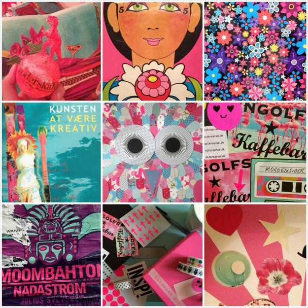 """365 moodboards i 2014. Moodboard #7: """"Føler mig pink og turkis på ny"""". Fotocollage. Fotograf: Susanne Randers"""