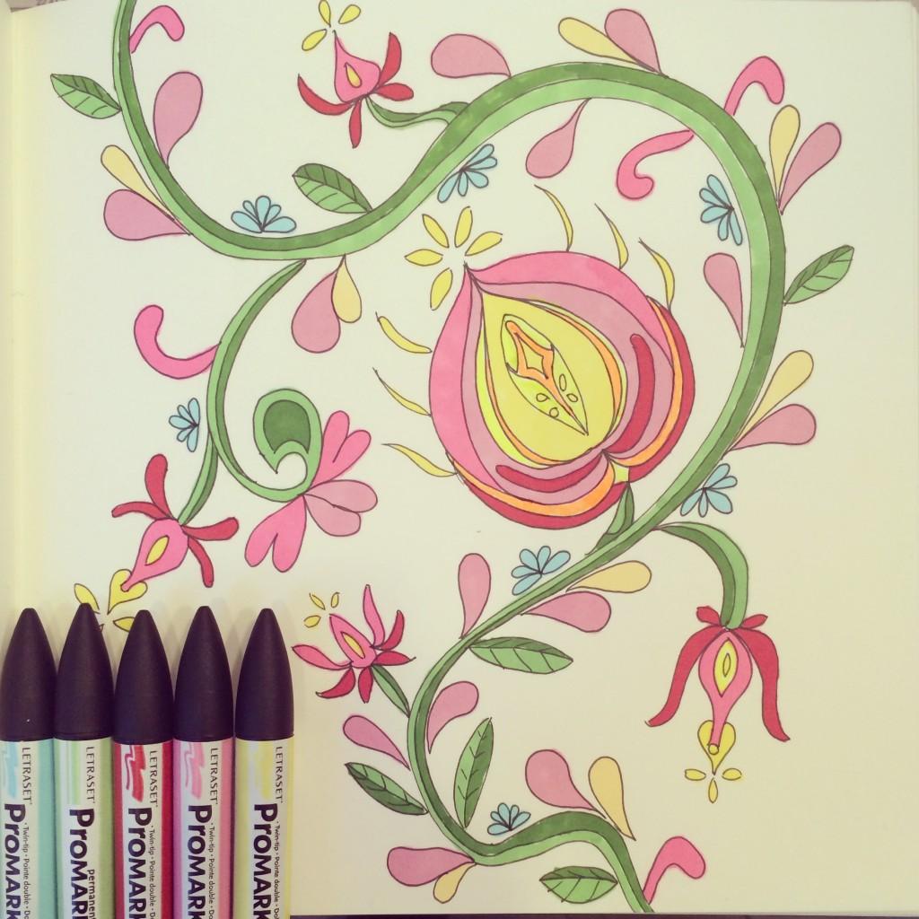 365 moodboards i 2014. Moodboard #53: I pagt med naturen. Naturen kalder: Folklore inspireret blomst - tegnet med Promarker tuscher. Fotograf: Susanne Randers
