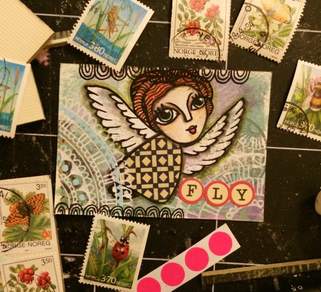365 moodboards i 2014. Moodboard #43: Min første kreaklub ATC [Artist Trading Card]. Smashup. Fotograf: Susanne Randers