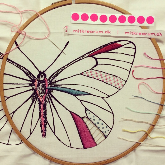 365 mood boards in 2014. Mood board #47: Creating together and a new start with a beautiful butterfly embroidery. Smashup. Instagram filter Valencia. Photographer: Susanne Randers
