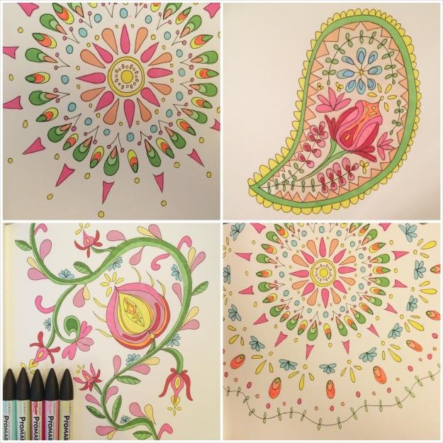365 moodboards i 2014. Moodboard #61: Promarker folklore tegninger i pastel og neon. Fotocollage. Fotograf: Susanne Randers