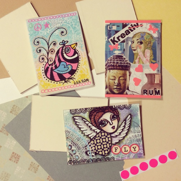 365 mood boards in 2014. Mood board #73: ATC's to and from three special ones. Artist Trading Cards. Smashup. Instagram filter Valencia. Photographer: Susanne Randers