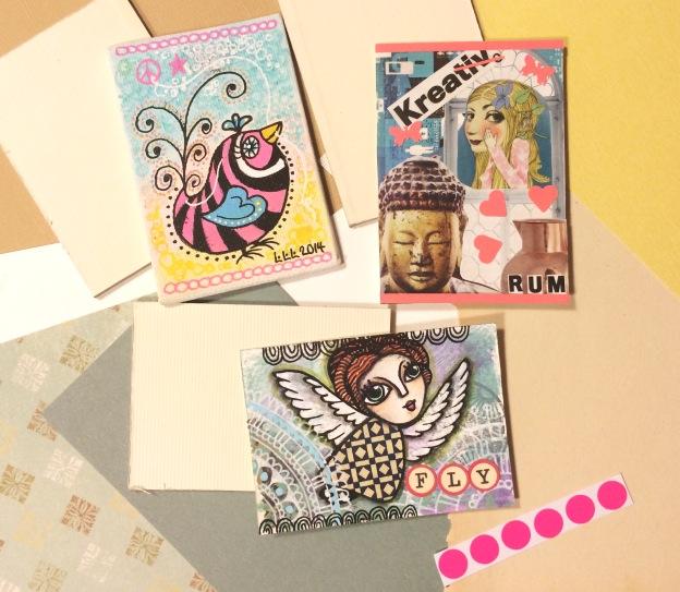 365 moodboards i 2014. Moodboard #73: ATC's til og fra tre skønne mennesker. Artist Trading Cards. Smashup. Fotograf: Susanne Randers