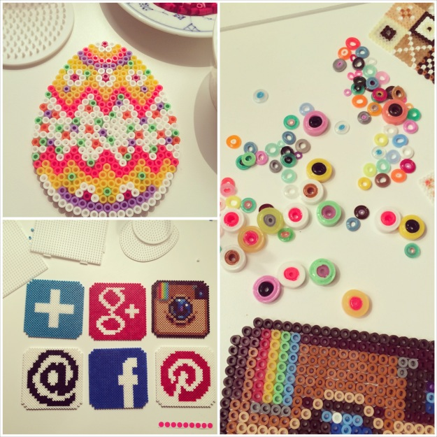 365 mood boards in 2014. Mood board #86: Creative salon with hama beads. Photocollage. Instagram filter Valencia. Photographer: Susanne Randers