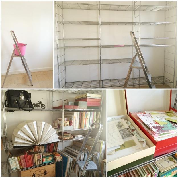 365 moodboards i 2014. Moodboard #88: Nyt liv til gamle kufferter. Ny, brugt IKEA stål reol opføres. Fotocollage. Fotograf: Susanne Randers