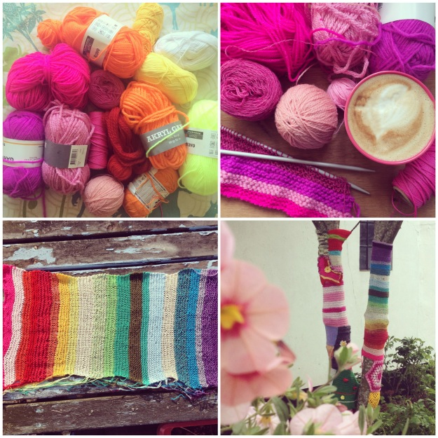 365 mood boards in 2014. Mood board #105: Knitting my own rainbow. Photo collage. Instagram filter Valencia. Photographer: Susanne Randers
