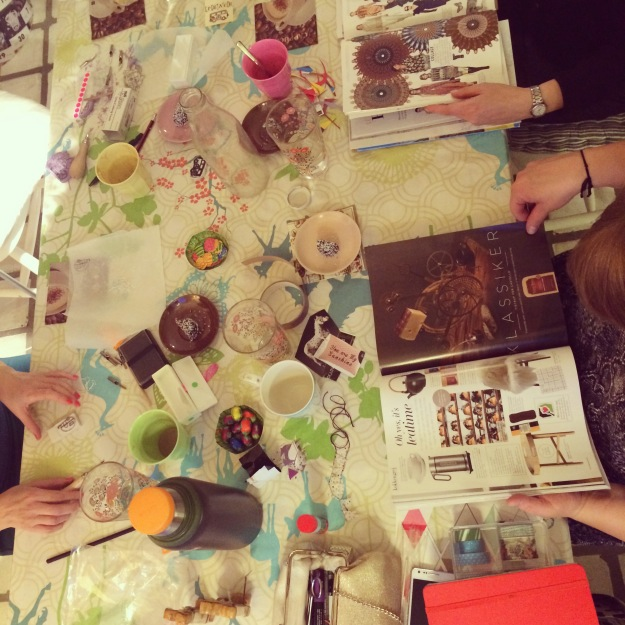 365 mood boards in 2014. Mood board #106: Glimpses from tonight's creative gathering at my home. Instagram filter Valencia. Photographer: Susanne Randers