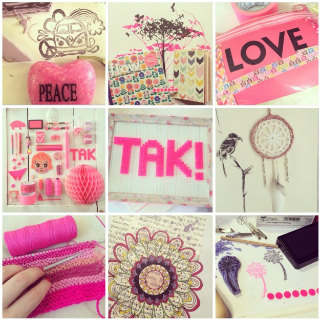 365 moodboards in 2014. Moodboard #120: TAK for en smuk, farverig og indsigtsfuld april. Pink moodboard. Instagram filter Valencia. Fotograf: Susanne Randers