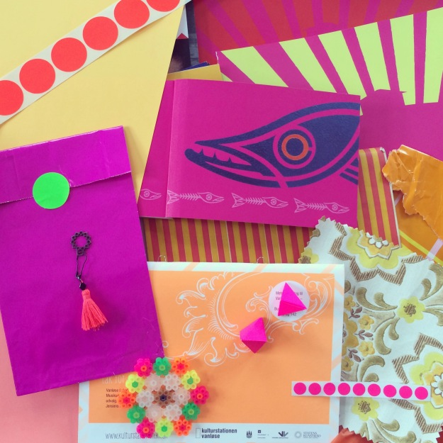 365 mood boards in 2014. Mood board #132: Colors make me happy. Pink, yellow, orange and green neon colorjoy. Instagram filter Valencia. Photographer: Susanne Randers