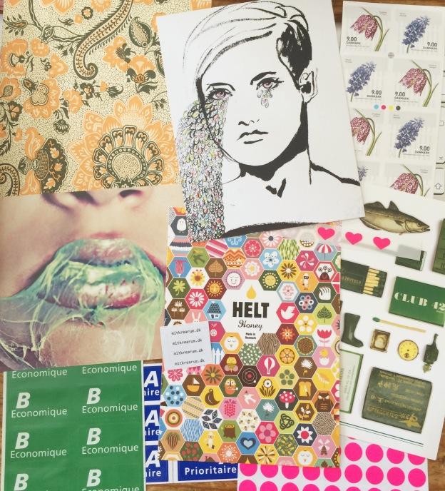 365 moodboards in 2014. Moodboard #139: Scraps og postkort der taler til mit hjerte. Fotograf: Susanne Randers