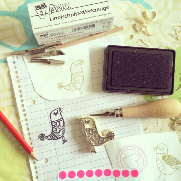 365 mood boards in 2014. Mood board #141: A tweety is born. Handcarved stamp. Instagram filter Valencia. Photographer: Susanne Randers