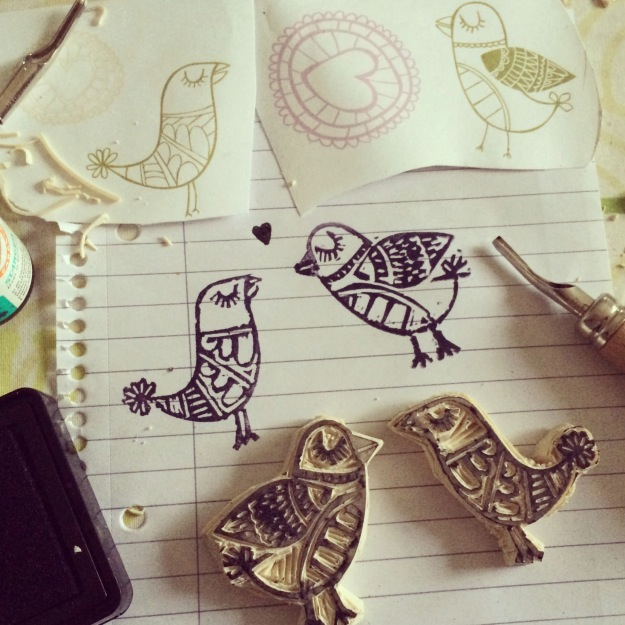 365 mood boards in 2014. Mood board #141: Tweety got company of Chicken Little. Handcarved stamps. Instagram filter Valencia. Photographer: Susanne Randers