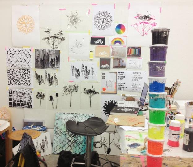 365 moodboards in 2014. Moodboard #142: Min inspirationsvæg på Kunsthøjskolen i Holbæk sommeren 2013. Fotograf: Susanne Randers